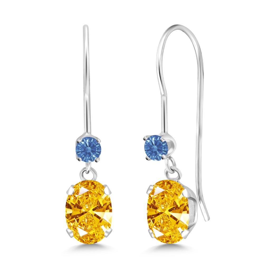 14K White Gold Dangle Earrings Set with Golden Yellow Zirconia from Swarovski