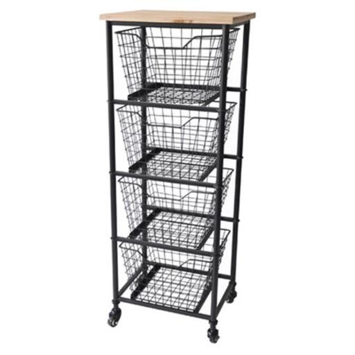 Cheungs FP-4307 4 Wire Drawer Wood Top Storage Cabinet - 41 x 11.75 x 15.25 in.