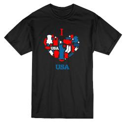 I Love USA American Elements Heart Tee - Image by Shutterstock