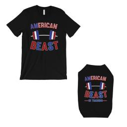 American Beast Training Small Dog and Owner Matching Shirts Black