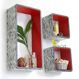 Classic Zebra Stripe Rectangle Leather Wall Shelf / Floating Shelf (Set of 3)