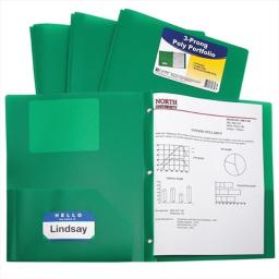C-Line Products 33963BNDL12EA Two-Pocket Heavyweight Poly Portfolio Folder with Prongs  Green  - Set of 12 Folders