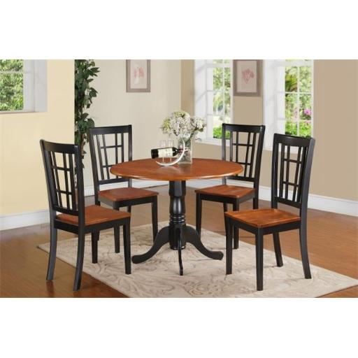 East West Furniture DLNI5-BCH-W 5 Piece Kitchen Nook Dining Set-Kitchen Table and Kitchen 4 Chairs