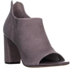 Bernardo Heather Open-Toe Ankle Boots, Smoke Suede
