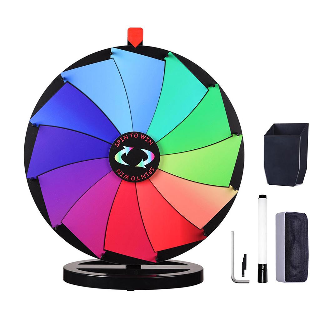 """WinSpin® 24"""" Editable Color Prize Wheel Fortune Spin Game 12 Slots Tradeshow"""
