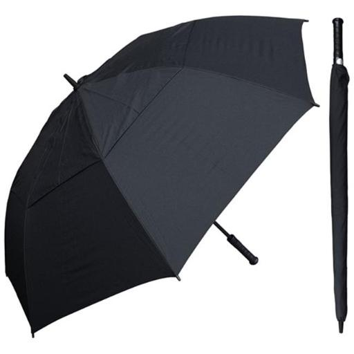 RainStoppers W030B 60 in. Auto Open Black Wind Buster Golf Umbrella with Golf Grip Handle, 6 Piece