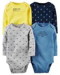 Carter's Baby Boys' 4 Multi-Pack Bodysuits 126g338, Assorted, 12 Months
