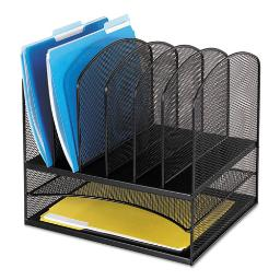 """Onyx Mesh Desk Organizer With Two Horizontal And Six Upright Sections Letter Size Files 13.25"""" X 11.5"""" X 13"""" Black   Total Quantity: 1"""