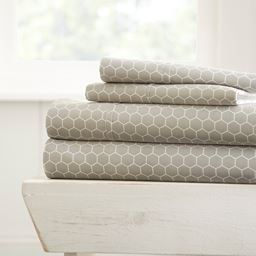 Home Collection Ultra Soft Honeycomb Pattern 4 Piece Bed Sheet Set