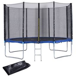 12 ft Trampoline Combo w/ Safety Enclosure Net  Spring Pad  Ladder & Rain Cover