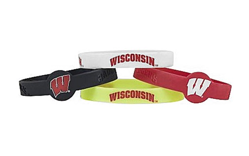 Sports Team Logo NCAA Wisconsin Badgers Silicone Bracelets - 4 Pack