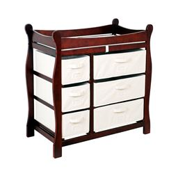 Badger Basket Co Cherry Sleigh Style Changing Table with Six Baskets