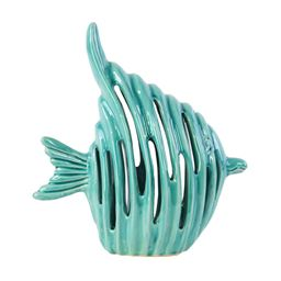 "Urban Trends  Ceramic Fish Figurine with Cutout Design Gloss Finish Turquoise - 10.25""H"