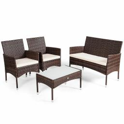 Rattan Patio Furniture Set Glass Top Table Cushioned Seat