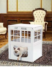 Wooden Cat House – Multi-Functional Cat Houses or Litter Box Cover – White Cats House – Cat Outdoor House