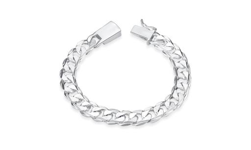 Rubique Silver Plated Classic Figaro Clasp Bracelet