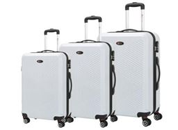 Brio Luggage Pet Ridged Luggage Set #C607 - White
