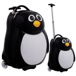 2 pcs Penguin Shaped Kids School Luggage Suitcase & Backpack