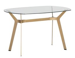 """Studio Designs Home Archtech 60"""" Modern Dining Table/Desk in Gold / Clear Glass"""