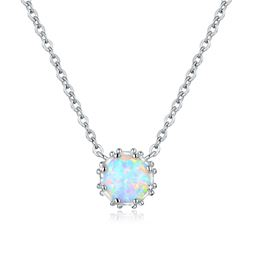 18K White Gold Plated & White Fire Opal Crown Necklace