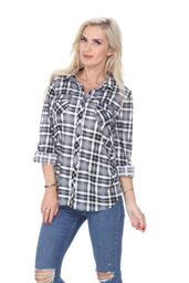 White Mark Universal 'Oakley' Stretchy Plaid Top