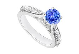 December Birthstone Created Tanzanite CZ Engagement Rings in 14kt White Gold 0.80.ct.tgw