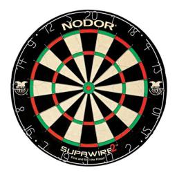Nodor Supawire 2 Regulation-Size Staple-Free Bristle Dartboard with Moveable Number Ring and Hanging Kit