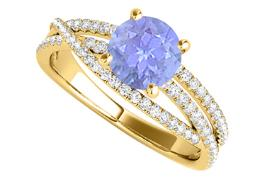 Criss Cross Design Engagement Ring with Tanzanite CZ