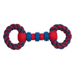 Boss Pet Chomper Gladiator Tuff Double Ring Tug for Pets, Red