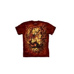 Fire Tiger Adult T-Shirt The Mountain Cat Flame Fantasy Face Fantasy