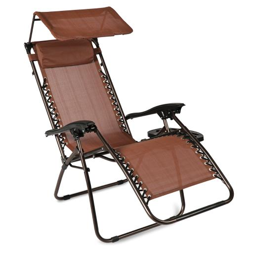 BELLEZE Zero Gravity Chair Folding Seat Patio Lounge Bungee Suspension Canopy Shade Adjustable w/ Tray, Brown