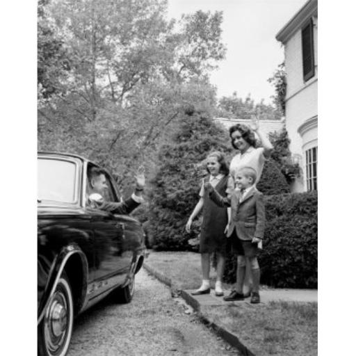 Posterazzi SAL255918 Mother & Her Children Waving to Their Father Poster Print - 18 x 24 in.