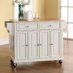 Crosley Natural Wood Top Kitchen Cart/Island in White Finish