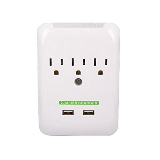 3 AC Outlet Slim Power Surge Protector Wall Tap with 2 USB Ports ERLVWBOLPVMOKYDJ