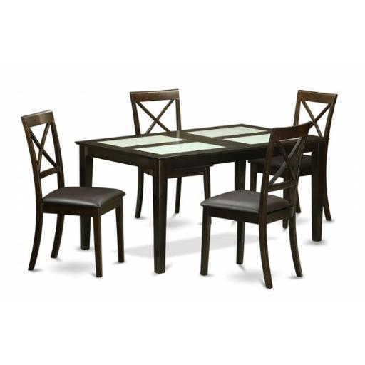 East West Furniture CABO5G-CAP-LC 5 Piece Dining Table Set- Dining Table With Glass Topinserts and 4 Dining Room Chairs