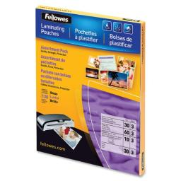 Fellowes, inc. 5208502 laminating pouches asst 3mil 130pk,dds must be ordered in multiples of case qty=