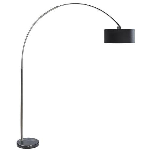 Q-Max 6938BBK Steel Adjustable Arching Floor Lamp with Black Shade & Marble Base