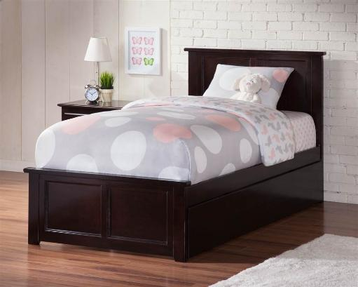 Madison Twin Bed with Matching Foot Board with Urban Trundle Bed in Espresso