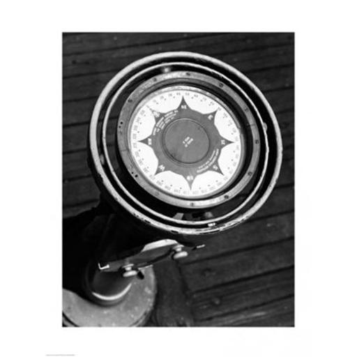 Close up of compass on deck of boat Compass-Gyro Repeater -18 x 24- Poster Print