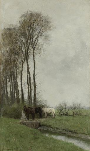 Horses At The Gate, By Anton Mauve, 1878, Dutch Painting, Oil On Canvas. Three Horses Standing At A Sluice In A Water Filled Ditch. Poster Print