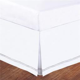 Lux Hotel FRE27514SILV01 Baratta Stitch on White Tailored Microfiber 14 in. Bedskirt, Silver - Twin