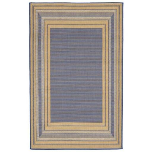 Liora Manne TER45276153 Wilton Woven Terrace Etched BDR 100 Percent Polypropylene Border Rug, Blue - 39 x 59 in.
