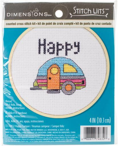 """Happy Camper Mini Counted Cross Stitch Kit-4"""" 14 Count Y6XRP3KPCXBAVLYP"""