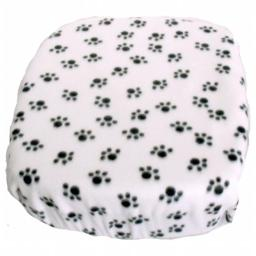 FidoRido Products FRFCWB Fleece Cover - White with Black Paw Prints