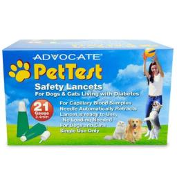Advocate PHA00107 2.4 mm PetTest Safety Lancets 21 Gauge - 100 Count box
