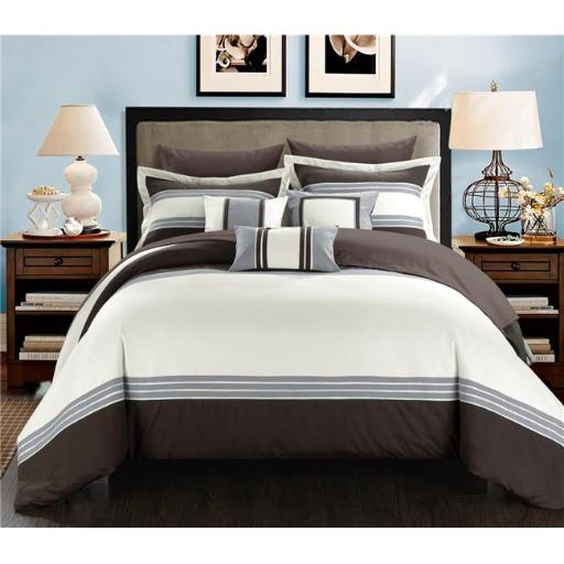 Chic Home CS3233-US Fullerton Hotel Collection Bed in a Bag Comforter Set with Sheets - Brown - King - 10 Piece