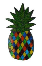 Multicolor Mosaic Glass Pineapple Wall Hanging