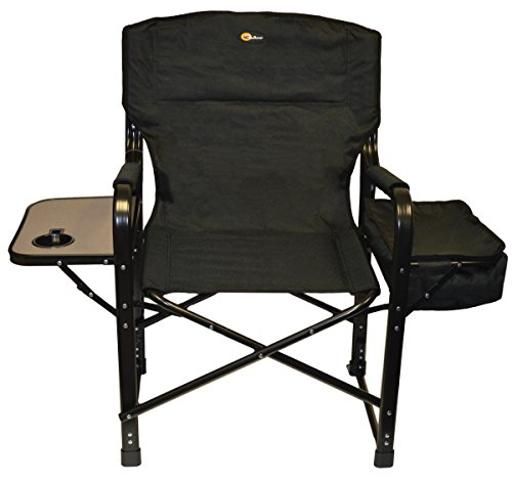 Faulkner 49580 El Capitan Folding Director Chair With Tray And Cooler Bag Black