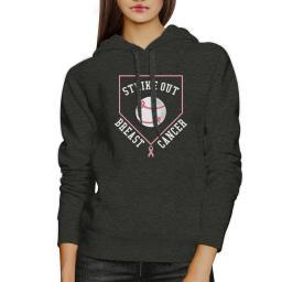 Strike Out Breast Cancer Graphic Hoodie Charcoal Grey Pullover Gift