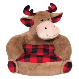 Trend-Lab 103410 Childrens Plush Buffalo Check Moose Character Chair - Black, Brown & Red - 21 x 19 x 19 in.